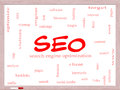 Seo word cloud concept on a whiteboard with great terms such as search engine optimization and more Royalty Free Stock Photography
