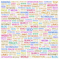 Seo word cloud illustration tag cloud concept collage Royalty Free Stock Photo