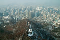 Seoul business district view from seoul tower capital of south korea Royalty Free Stock Image