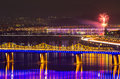 Seoul city with firework night Royalty Free Stock Photo