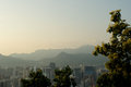 Seoul city street view from top in summer Royalty Free Stock Photo