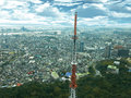 Seoul cityscape a panoramic view of city from the namsan tower hill peak Stock Image
