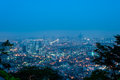 Seoul at dawn the lights of glimmer as approaches Royalty Free Stock Image