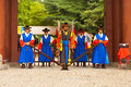 Seoul korea august armed guards traditional costume stand entry gate deoksugung palace tourist landmark seoul south korea august Royalty Free Stock Images