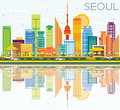 Seoul Skyline with Color Buildings, Blue Sky and Reflections.