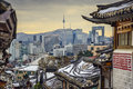 Seoul south korea historic distric and skyline at the bukchon hanok district Stock Image