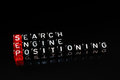 Sep search engine positioning black text written on cubes ob Stock Photos