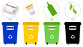 Separate garbage collection set of recycle trash bins vector illustration Stock Image