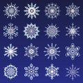 Separate Snowflakes Doodles icon white Vector Rustic christmas clipart new year snow crystal illustration in flat style
