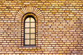 Separate window in brick wall old Stock Photography