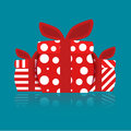 Separated gift box red dots and lines Royalty Free Stock Image