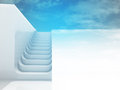 Separated staircase in blue sky light design Royalty Free Stock Photo