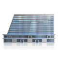 Separately standing office building business cent detached multistory center with reflection Royalty Free Stock Images