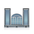 Separately standing office building business cent detached multistory center with reflection Stock Photography