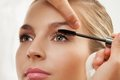 Separating and curling lashes with mascara brush Royalty Free Stock Photo