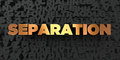Separation - Gold text on black background - 3D rendered royalty free stock picture Royalty Free Stock Photo