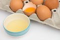 Separation the yolk of egg in little bowl and tray Stock Photography