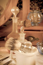 Sepia barber shop tools Royalty Free Stock Photos