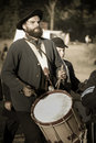 Sepia civil war union soldier drummer Stock Photo