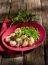 Sepia with peas Stock Photo