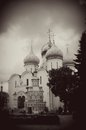 Sepia photo of church domes in trinity sergius lavra sergiev posad russia vintage style unesco world heritage site Royalty Free Stock Photography
