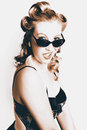 Retro Sepia Portrait Of A Surprised 60s Pinup Girl Royalty Free Stock Photo