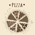 Sepia picture of pizza Royalty Free Stock Photo