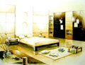 Sepia tone bedroom interior illustration design Royalty Free Stock Images