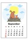 September 2018 calendar Royalty Free Stock Photo