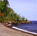 September on the north shore an early autumn vista picturesque of lake superior in minnesota Stock Photo