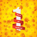 September 1st. Day of knowledge. Red ribbon with white number 1. Autumn background. Orange leaves of maple. Abstract yellow glare Royalty Free Stock Photo