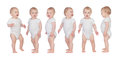Sequence of a baby standing isolated on white background Stock Image