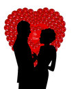Sequins heart with couple be mine message Stock Photos