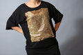 Sequins shirt black female model in studio front view Royalty Free Stock Photos