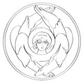 Seraph drawing freehand outline illustration in a round medalion isolated on white Royalty Free Stock Photo