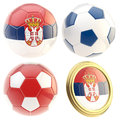 Serbia football team attributes isolated set of four soccer ball on white Royalty Free Stock Images