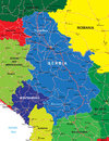 Serbia and montenegro map highly detailed vector of with administrative regions main cities roads Stock Image