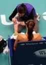 Serbia's Jelena Jankovic receives medical help