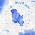 Serbia watercolor map in blue colors.