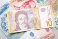 Serbian dinars close up Royalty Free Stock Photo