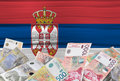 Serbian flag and money Royalty Free Stock Photo