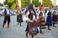 Serbian folk dancers at parade Royalty Free Stock Photo