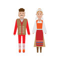 Serbian national costume illustration of dress on white background Stock Photo