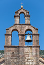 Serbian orthodox church bell tower in petrovac town montenegro Royalty Free Stock Image