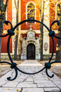 Serbian Orthodox Church facade through fence, 18th century. Royalty Free Stock Photo