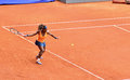 Serena williams at the wta mutua open madrid in action against lourdes dominguez lino th may Stock Photo