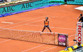 Serena williams at the wta mutua open madrid in action against lourdes dominguez lino th may Stock Photography