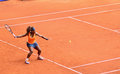 Serena williams at the wta mutua open madrid in action against lourdes dominguez lino th may Stock Image