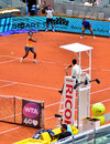 Serena williams at the wta mutua open madrid playing against lourdes dominguez lino th may Stock Image