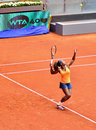 Serena williams at the wta mutua open madrid serving against lourdes dominguez lino th may Stock Images